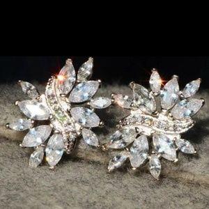 New zircon 925 silver cluster earrings
